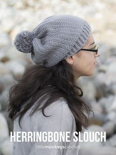 You'll love the clean lines in this cute slouchy hat, a perfect match to the Herringbone Buttoned Cowl.