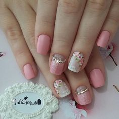 Unhas decoradas unhas decoradas perfeitas, unhas rosa decoradas, un Cute Nails, Pretty Nails, Hair And Nails, My Nails, Flower Nail Art, Art Flowers, Best Nail Art Designs, Elegant Nails, Perfect Nails