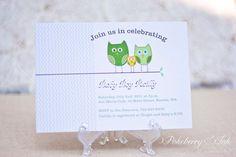 Printable Owl-themed, gender neutral baby shower invitation