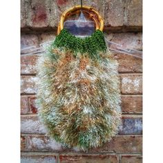 Crochet Upcycled Fuzzy Purse Unique Handmade Knit Recycled Handmade... ($48) ❤ liked on Polyvore featuring bags, handbags, knit purse, crochet bag, knit bag, handbag purse and crochet handbags
