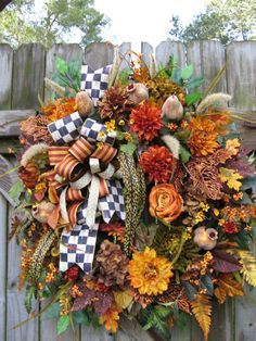 Fall Wreath MacKenzie Childs Ribbon Wreath by IvySageDesigns