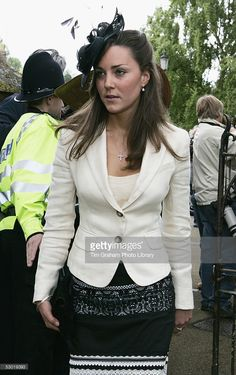 Kate Middleton, Prince William's girlfriend, among guests at the society wedding of Hugh Van Cutsem Junior to Rose Astor at Burford Parish Church on June 4, 2005 in Burford, England.
