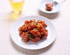 바삭한 닭강정. Wingless Chicken Breast Wings Korean Fried Chicken, Tandoori Chicken, Korean Food, No Cook Meals, Recipies, Asian, Cooking, Ethnic Recipes, Desserts