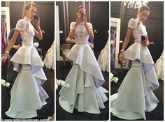 Satisfied customer: The wife of AFL star Chris Judd instead asked the designers at J'aton Couture to come up with something more modern, resulting in the unique folded dress she wore down the red carpet