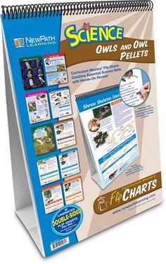 "New Path Learning Owl and Owl Pellets Set Flip Charts • Mounted on a sturdy easel • 10 Double-sided, laminated 12"" x 18"" charts • Side 1 includes a colorful, graphic overview of the topic • Side 2 serves as a ""write-on/wipe-off"" activity chart • Complete with an activity Guide featuring black-line copy-masters and exercises"