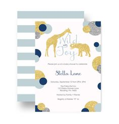 Polished Jungle Baby Shower Invitations for baby boy in stylish navy, silver, baby blue & gold set of hues. Eclectic choice for the safari adventure theme celebration. Abstract glittery gold & silver dots and solid dot on a white announement with elephant and giraffe accents. Personalized invitations make it easy to customize for your jungle theme baby shower, coed, baby boy sprinkle or even a birthday party. Custom colors are available (read on) and you get the matching light blue st...