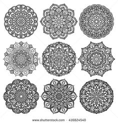 Black mandalas for coloring. Mandala vector coloring page. Mandala art design. Intricate mandala pattern. Unusual mandala tattoos. Outline mandala flowers. Line mandala print. Oriental mandalas set.