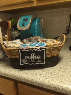 So. I bought myself a Keurig. But the pods end up EVERYWHERE, and the boxes take up so much room. The products they sell for K Cup storage can run you $35.00 and up, and they aren't even cute. The ones that are cute don't even hold a full box of cups, they're more for display! Completely upset, I turned to Michael's for some DIY ideas. I'm happy to say I crafted this baby, for under $15.00 and about 45 minutes! And I bought the basket, the mini chalkboard, the 2 colors of cha