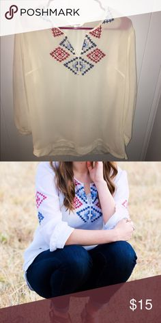 Blouse White with pink and blue designs on it (second picture is of it on me... much more flattering than it looks on the hanger) Charming Charlie Tops Blouses