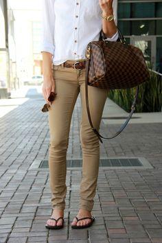 Beige pants | white button up shirt | leather flip flops | Louis vuitton purse | fashion blogger