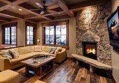 Stone Corner Fireplace Designs | Design above by Jaffa Group Design Build, Park City, Utah