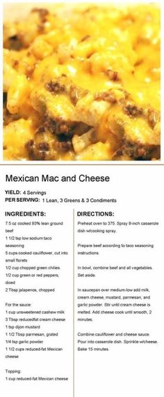 Mexican Mac and cheese Medifast Recipes, Ww Recipes, Mexican Food Recipes, Cooking Recipes, Healthy Recipes, Healthy Foods, Recipies, Mexican Dishes, Fruit Recipes