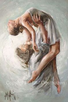 Beautiful Prophetic Art painting of Jesus holding up a dancer praising the Lord, by Maria M. Oosthuizen. Please also visit www.JustForYouPropheticA… | Pinteres…