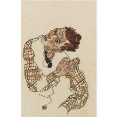 Egon Schiele, Selbstbildnis mit kariertem Hemd  (Self-Portrait with Checkered Shirt )