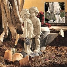 Young Sweethearts - Kissing Children Garden Statue. Only time will tell if the wiggly frog hidden behind this kissing bandit s back will delight his young sweetheart as much as his bouquet did! Our playful children sculpture features exquisite detailing, from smocked pinafore and delicate wildflowers to smitten expressions. #sweethearts #children #statue