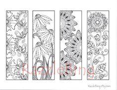 "DIY Bookmark Printable Coloring Page-Zentangle inspired ""Spring Flowers""-Zendoodle Doodle-PDF Instant Download"