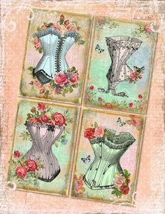 Vintage Victorian Corsets BaCKGRouND PaPeRs DiGiTaL CoLLaGe sHeeT aLTeReD HaNg TaGs BooK JouRNaL (4.99 USD) by pinkpearlstudio