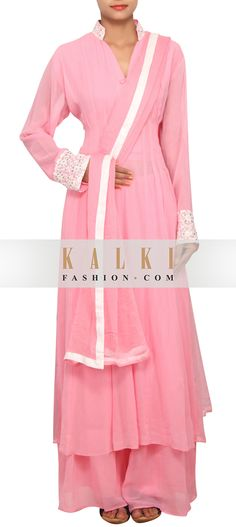 Buy Online from the link below. We ship worldwide (Free Shipping over US$100)     http://www.kalkifashion.com/baby-pink-straight-fit-suit-featured-in-georgette-only-on-kalki.html