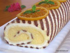Brazo de gitano rayado con crema de naranja