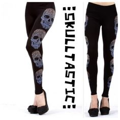 """BACK IN STOCK!SKULL PRINT LEGGINGS with BLING! These are a must have!Pretty skull design on the sides. Stretchy and crazy cool!  92% polyester, 8% spandex. Made in USA NWOT.                                                                                        Small: Waist 25-36"""" Hips 37-50"""" Inseam 30"""" PLEASE DO NOT BUY THIS LISTING! I will personalize one for you. LARGER SIZES AT @saundie2_plus! tla2 Pants Leggings"""