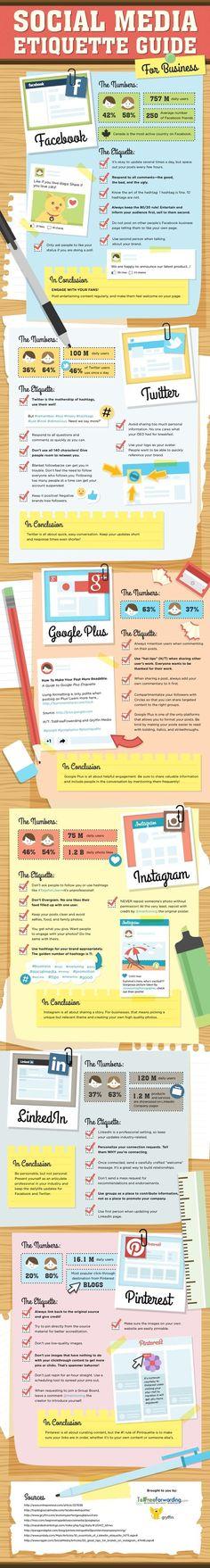 GooglePlus, Twitter, Instagram, Facebook, Pinterest - Social Media Etiquette Guide For Business - #infographic   Time to Learn   Scoop.it