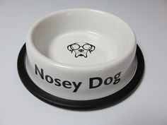 """Specialty White/ Black """"NOSEY DOG"""" - Nonskid Stainless Steel Dog Bowl"""