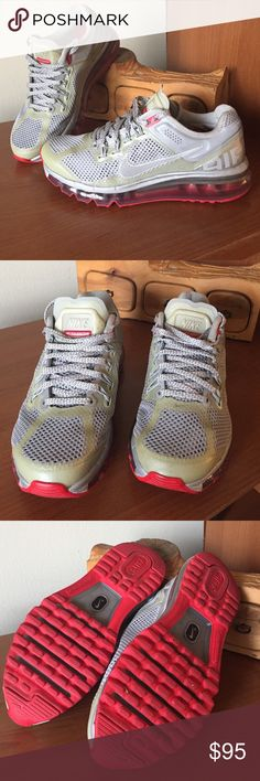Nike Air Max LE Reflective Silver Hyper Red Womens Nike Air Max Limited Edition Reflective Silver Hyper Red Running Shoes. In excellent used condition. Nike Shoes Sneakers