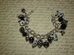 Black & White Bracelet .. all glass beads with silver chain .. $42.00
