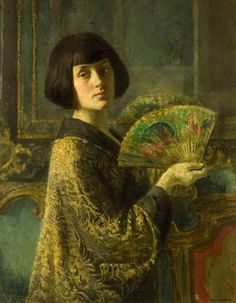 The Fan by Gerald Leslie Brockhurst Date painted: 1915