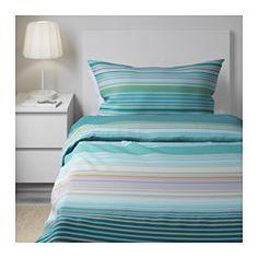 IKEA - PALMLILJA, Copripiumino e federa, 150x200/50x80 cm, , La biancheria da letto in satin di lyocell/cotone è molto morbida e confortevole e ha una lucentezza che risalta sul letto.Il lyocell assorbe ed elimina l'umidità, garantendoti un sonno asciutto e confortevole e permettendo al tuo corpo di mantenere una temperatura confortevole e uniforme.I bottoni automatici nascosti tengono fermo il piumino.