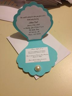 "Pearls and tea bridal shower invitation mermaids ""under the sea"" wedding DIY"