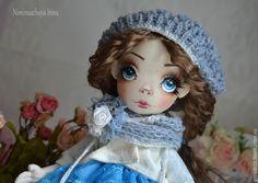 Купить Лика! Авторская куколка ручной работы! - голубой, голубые глаза, реснички, васильковый цвет