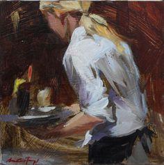 Maleri av Monica Castanys. Størrelse 15x15 cm  kr 3780