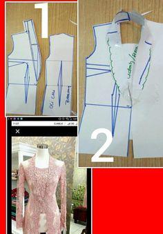 27 likes 1 comments Kebaya Lace, Batik Kebaya, Kebaya Dress, Pola Kebaya Kutubaru, Kebaya Brokat, Dress Sewing Patterns, Blouse Patterns, Clothing Patterns, Model Kebaya