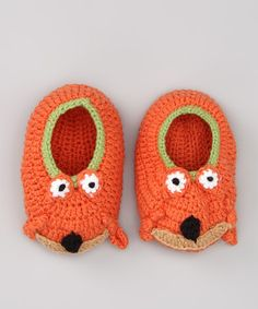 Take a look at this Orange Fox Knit Slipper Socks - Infant by Zutano on #zulily today!