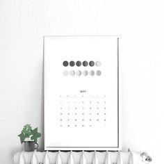 2018 Black and white printable Calendar Moon phases Year at a glance printable 2018 calendar