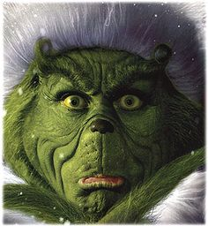 Jim Carry as the Grinch, i loved this makeup! they could not have picked a better actor for this part.