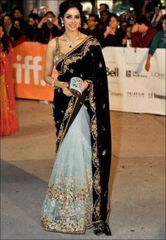 Wow, a black velvet sari? Sridevi in Sabyasachi Mukherjee - Lace Tulle & Black Velvet Saree Bollywood Mode, Bollywood Fashion, Bollywood Saree, Bollywood Wedding, Bollywood Actress, Indian Attire, Indian Wear, Indian Style, India Fashion