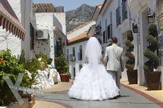 Bride and groom in Benalmadena Pueblo