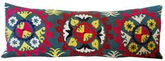 Large Lumbar Vintage Suzani Hand Embroidered Pillow by IKATSUZANI, $80.00