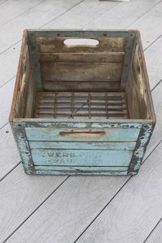 Vintage Baby Blue Farm Crate Box Wood and Metal - reminds me of the crates we used to get milk on milk break in school