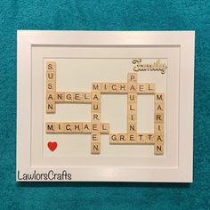 Family scrabble frame with classic ivory background & white frame! #lawlorscrafts #etsyshop #etsy #scrabbleframe #personalisedscrabbleframe #familyscrabbleframe Scrabble Frame, Scrabble Art, Scrabble Tiles, Different Colors, Frames, My Etsy Shop, Ivory, Handmade Gifts, Words