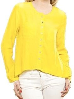 Long Sleeve Yellow Button Down Top - $28.00 : FashionCupcake, Designer Clothing, Accessories, and Gifts