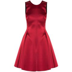 Emporio Armani Satin Bow Back Dress found on Polyvore featuring dresses, vestido, red, red dress, red cocktail dress, emporio armani and emporio armani dresses