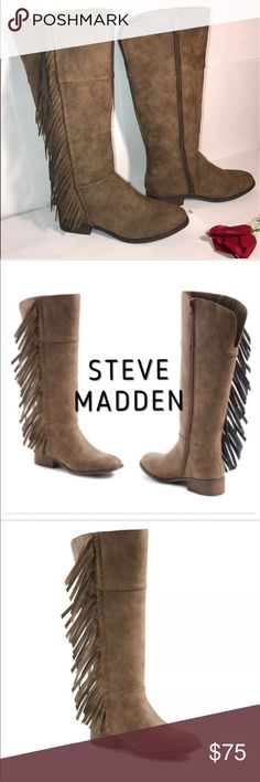 """Steve Madden (sz4 Big girls)  fringe boots **STEVE MADDEN """"JTARLI"""" BIG GIRLS SIZE 4 BROWN FRINGE BOOTS** 💗NO TRADES💗 -brand new -tall fringe riding boot -stacked heel -bohemian style -long side fringe -zip up -whipstitched trim that extends down to the shaft -1"""" heel -13 1/2"""" shaft -side zip closure for easier put on -extremely comfortable for everyday use -3mm foam cushioned footbed -beautiful versatile neutral brown -comes from a pet free and smoke free home Steve Madden Shoes Boots"""