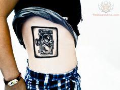 Camera Frame Tattoo On Side Rib
