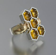 HONEY BEES silver and 14k gold ring with Citrines | Etsy Bee Jewelry, Unique Jewelry, Bee Ring, Golden Yellow Color, Beautiful Bugs, 14k Gold Ring, Love Symbols, Schmuck Design, White Sapphire