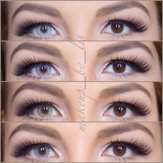 The color of your eyes play an important part in eye makeup. Different eye colors can completely change the appearance of any eye look. This post is dedic Desio Contacts, Cat Eye Contacts, White Contact Lenses, Eye Contact Lenses, Gyaru, Green Colored Contacts, Color Contacts, Cyberpunk, Rockabilly