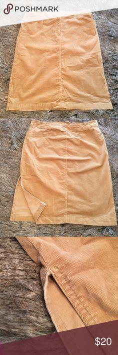 "J. Crew corduroy skirt Tan J. Crew skirt. Corduroy. Small side slit. Zipper and hook closure. Stretchy. Length: 23"". Waist: 17"". Hips: 20.5"". Slit: 9"". Runs small. J. Crew Skirts Pencil"