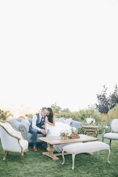 California dream wedding with furniture by Found Vintage Rentals.